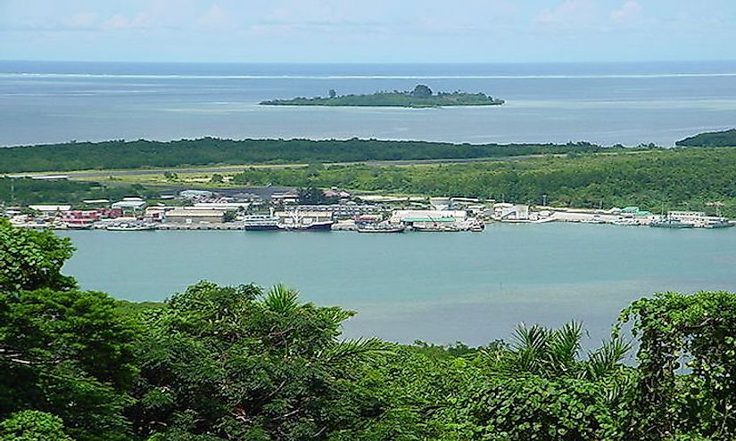 The Pohnpei International Airport Runway and Pohnpei Seaport in Micronesia, as viewed from Sokehs Ridge
