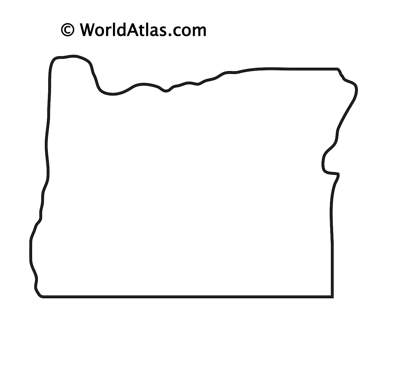 Blank Outline Map of Oregon