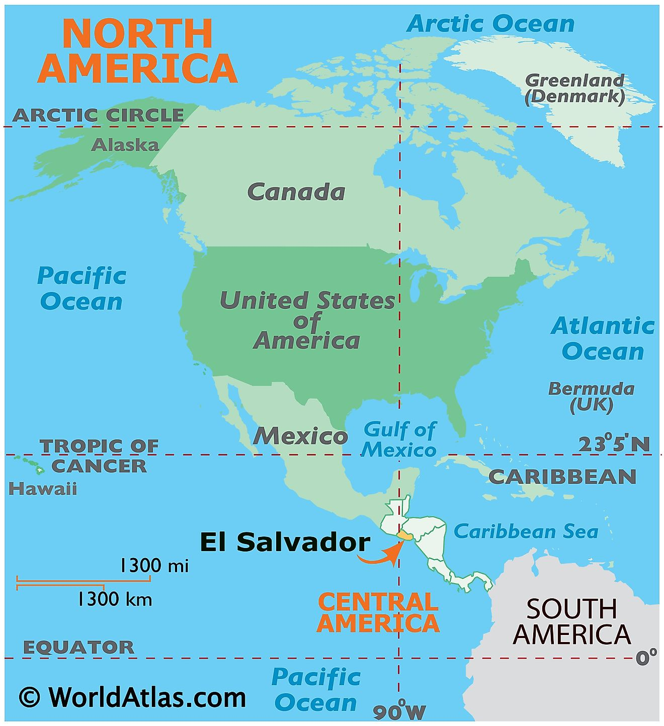 Map showing location of El Salvador in the world.
