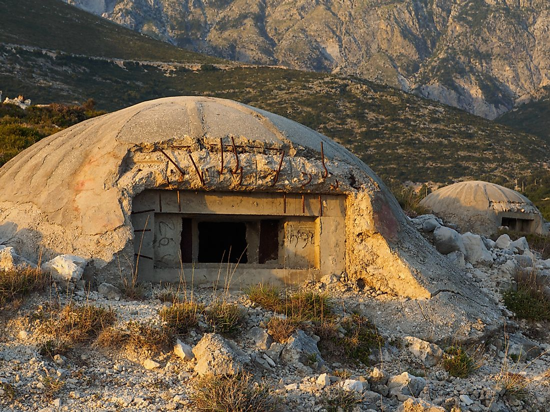 An example of a bunker in the Albanian countryside.
