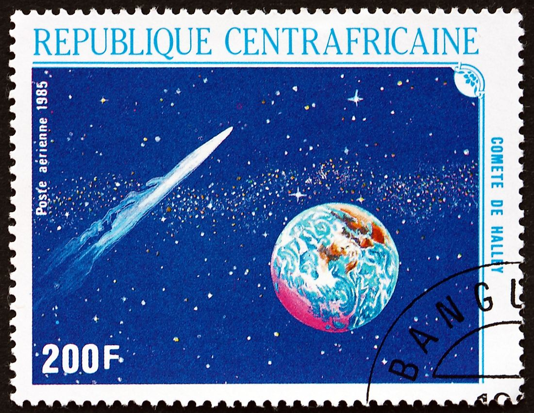 A stamp from the Central African Republic showing Halley's Comet. Editorial credit: Boris15 / Shutterstock.com.