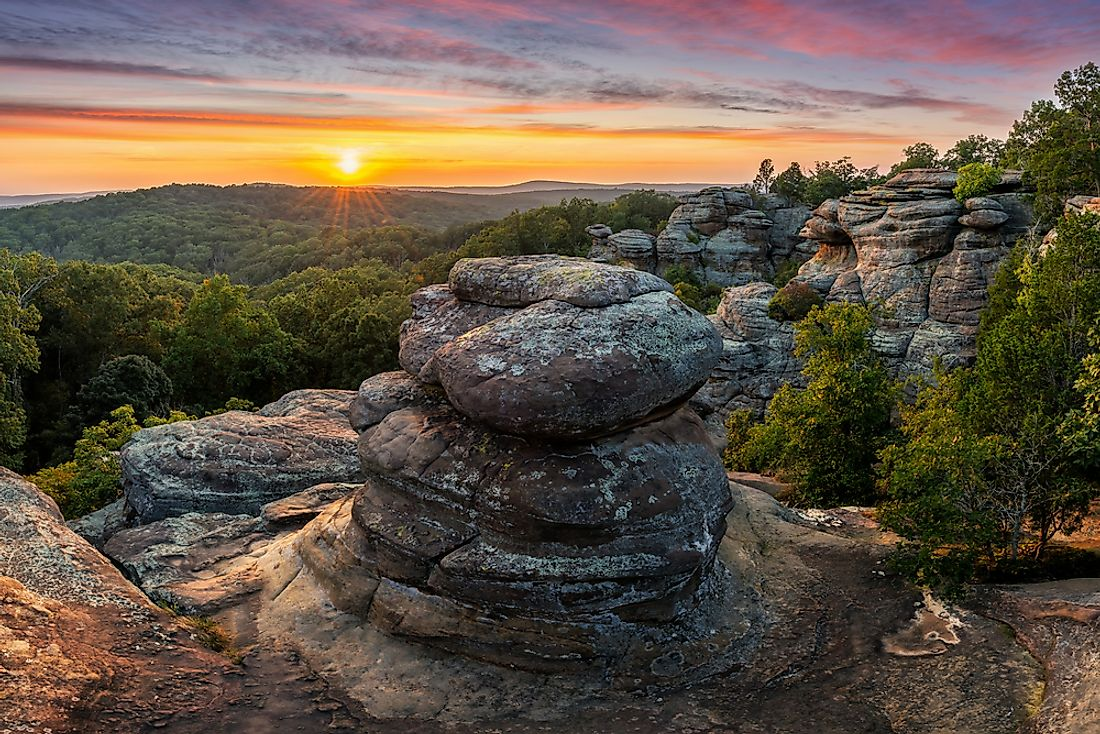 A sunset in Shawnee National Forest in Illinois.