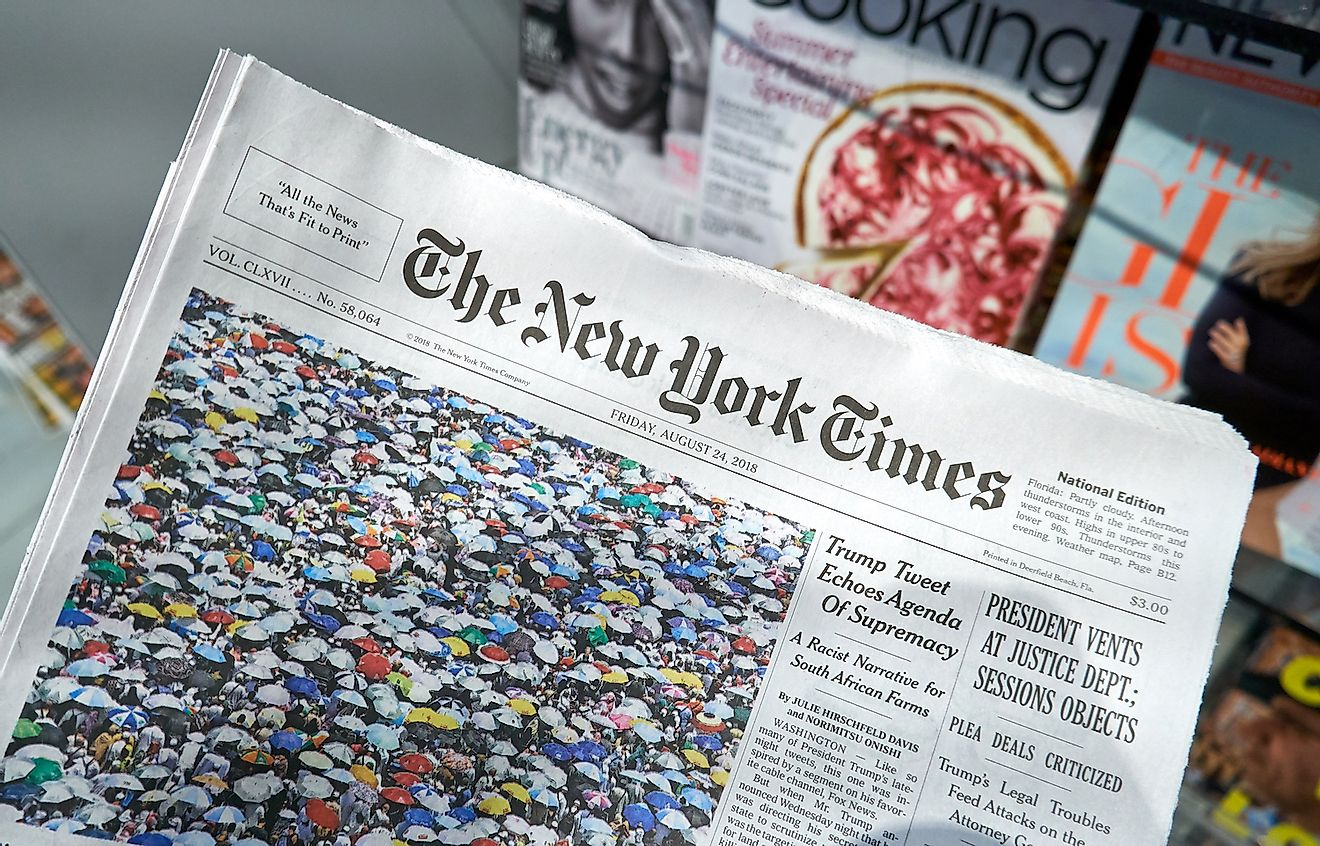 The New York Times is a popular American newspaper based in New York City with worldwide influence. Image credit: dennizn/Shutterstock.com