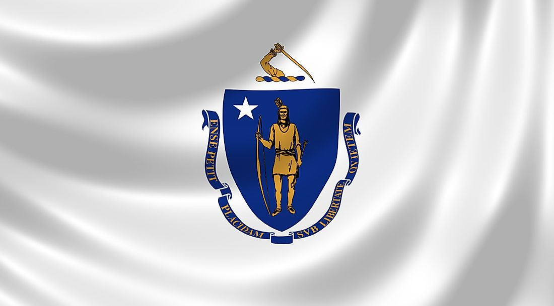 The Massachusetts state flag features the state coat of arms.