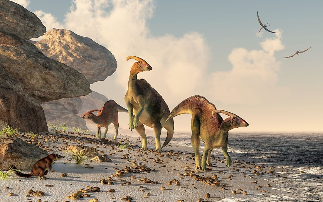 A 3D rendering of dinosaurs.