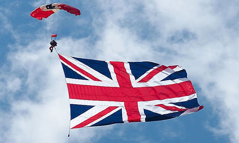 The Union Jack flying high in the sky.