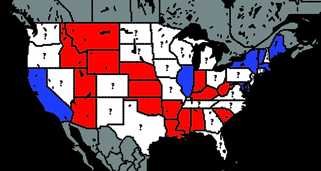 Several US states are classified as swing states as their political association is uncertain.