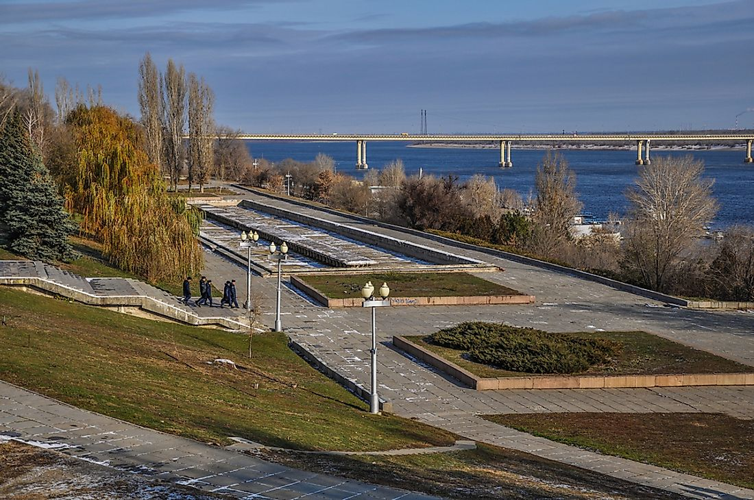 "The Volga River in Volgograd, Russia. Volgograd was one of the many cities re-named during the period of ""de-stalinization"". It was formerly named ""Stalingrad""."
