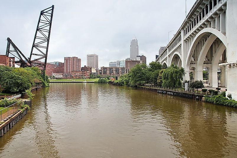 The Cuyahoga River in Cleveland, Ohio.