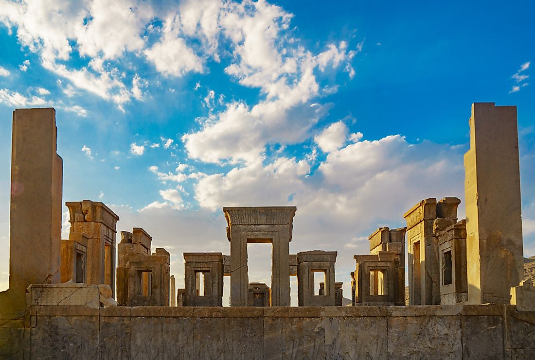 Columns of the ancient city of Persepolis from the First Persian Empire (Achaemenid Empire).