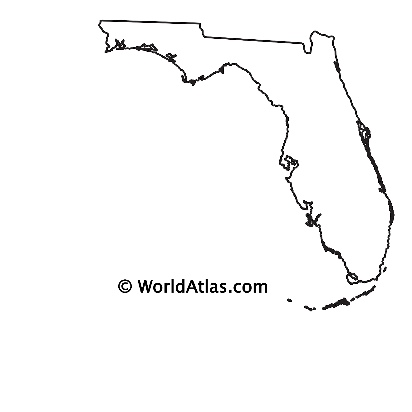 Blank Outline Map of Florida