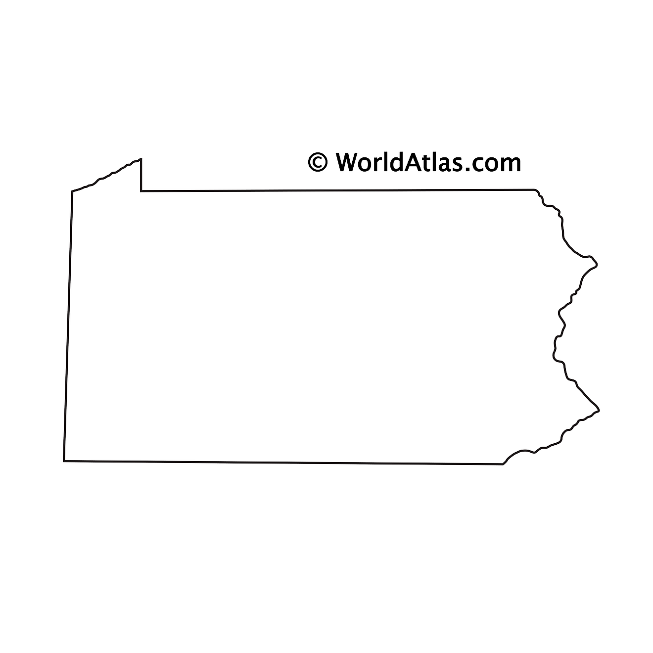 Blank Outline Map of Pennsylvania