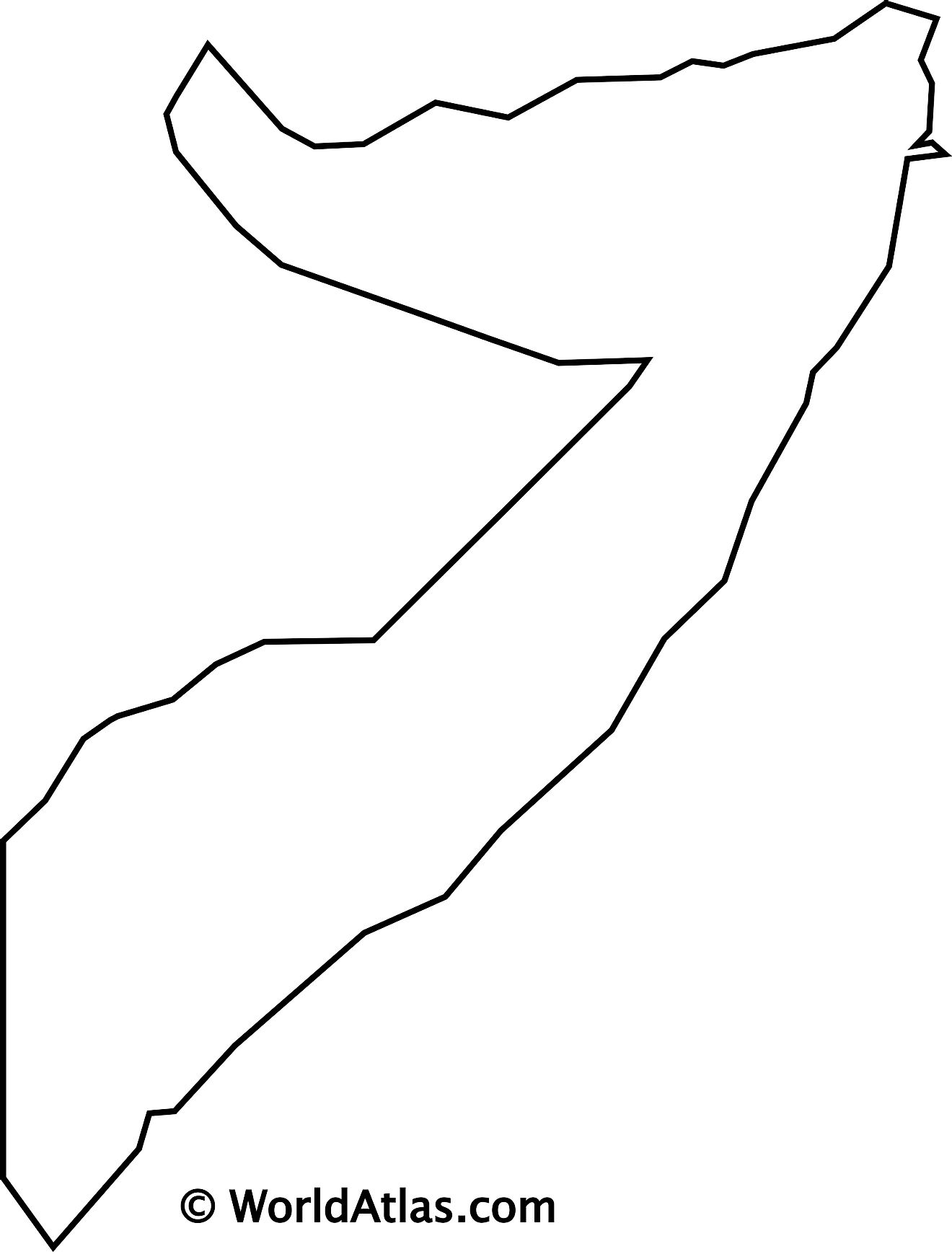 Blank Outline Map of Somalia
