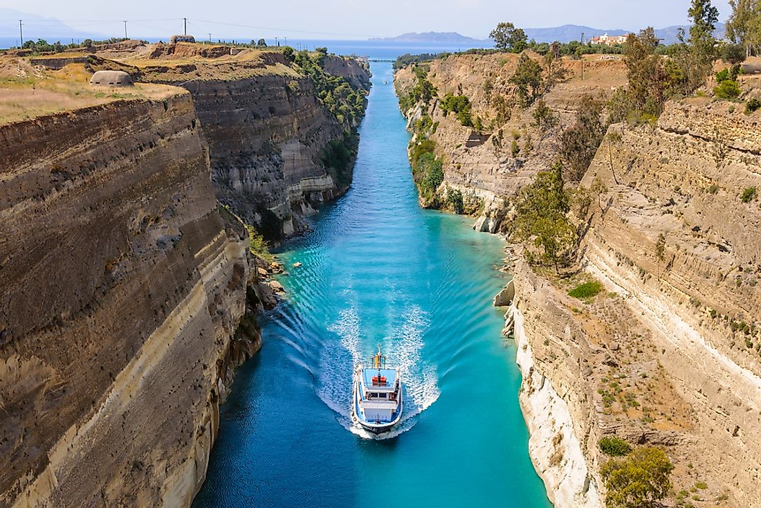 A ship passing through the Corinth Canal.