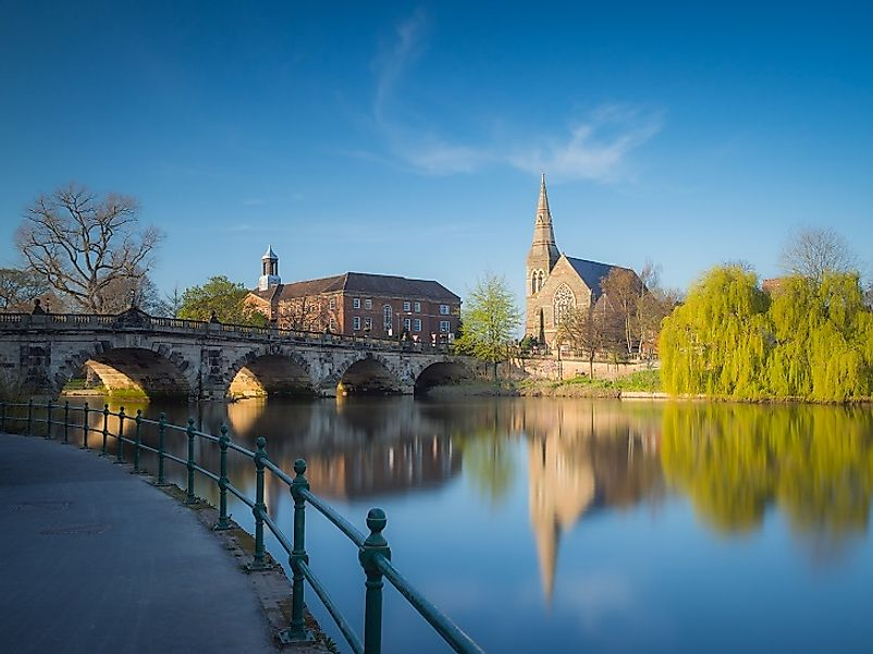 A bridge over the Severn in Shrewsbury, Shropshire, England.