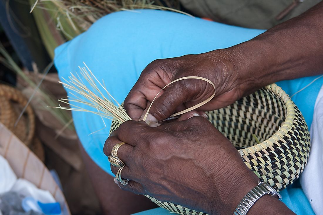 The Gullah are known for their handcrafted sweetgrass baskets.