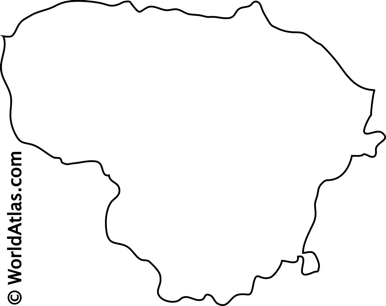 Blank Outline Map of Lithuania