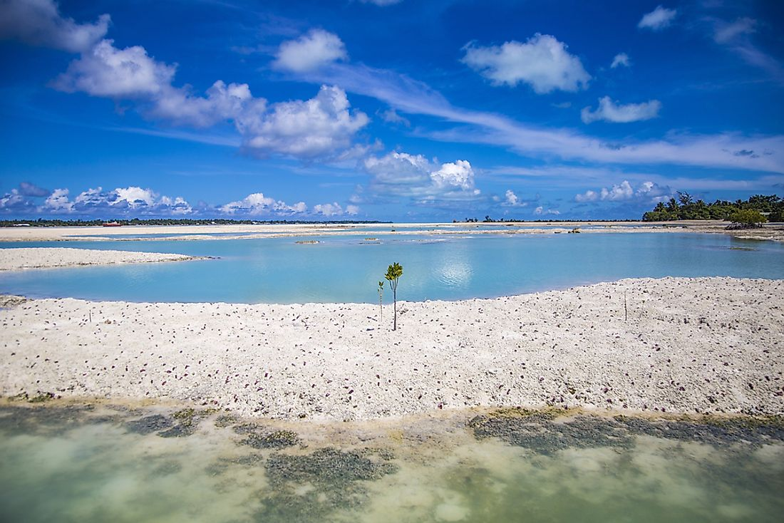Beaches on Tabuaeran Island in the Republic of Kiribati.