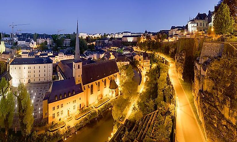 The nighttime view of the Old City of Luxembourg.