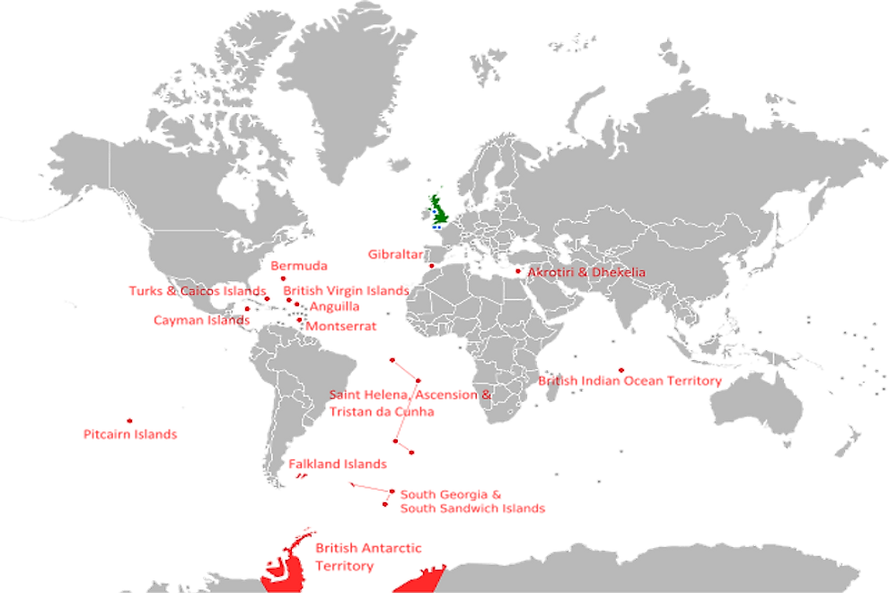 A map showing the British Overseas Territories.