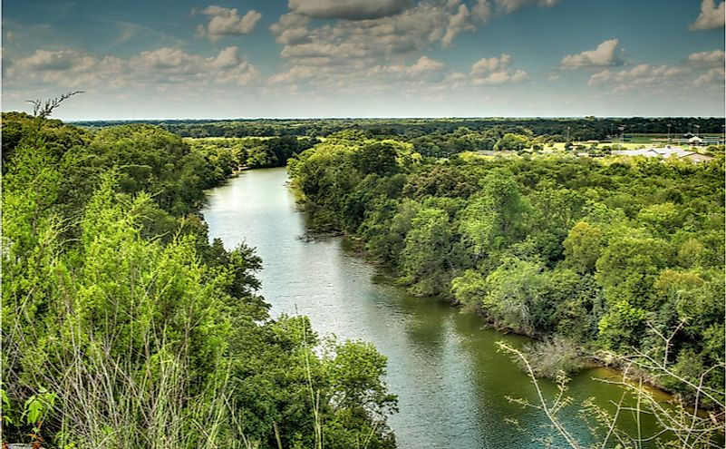The Brazos River in Waco, Texas.