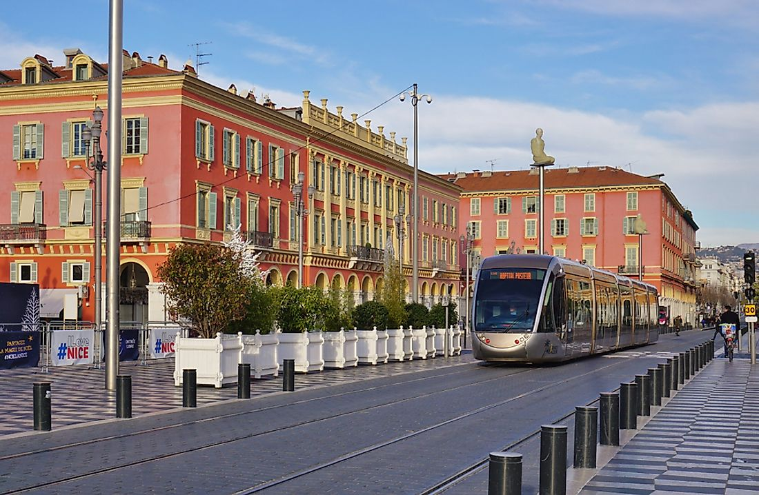 A tram in Nice, France. Editorial credit: EQRoy / Shutterstock.com.