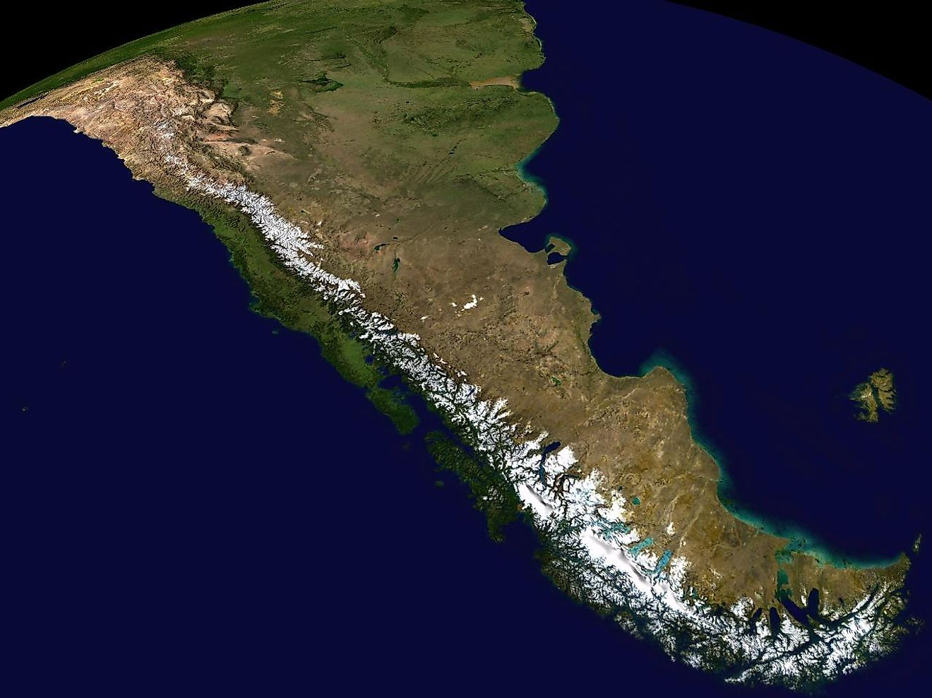 Composite satellite image of the southern Andes.