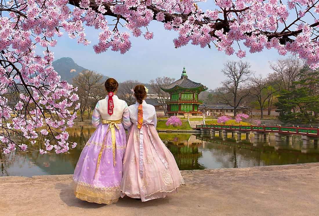 Women in traditional South Korean dresses.