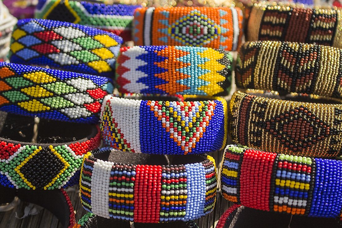 Xhosa jewelry for sale at a market in South Africa.