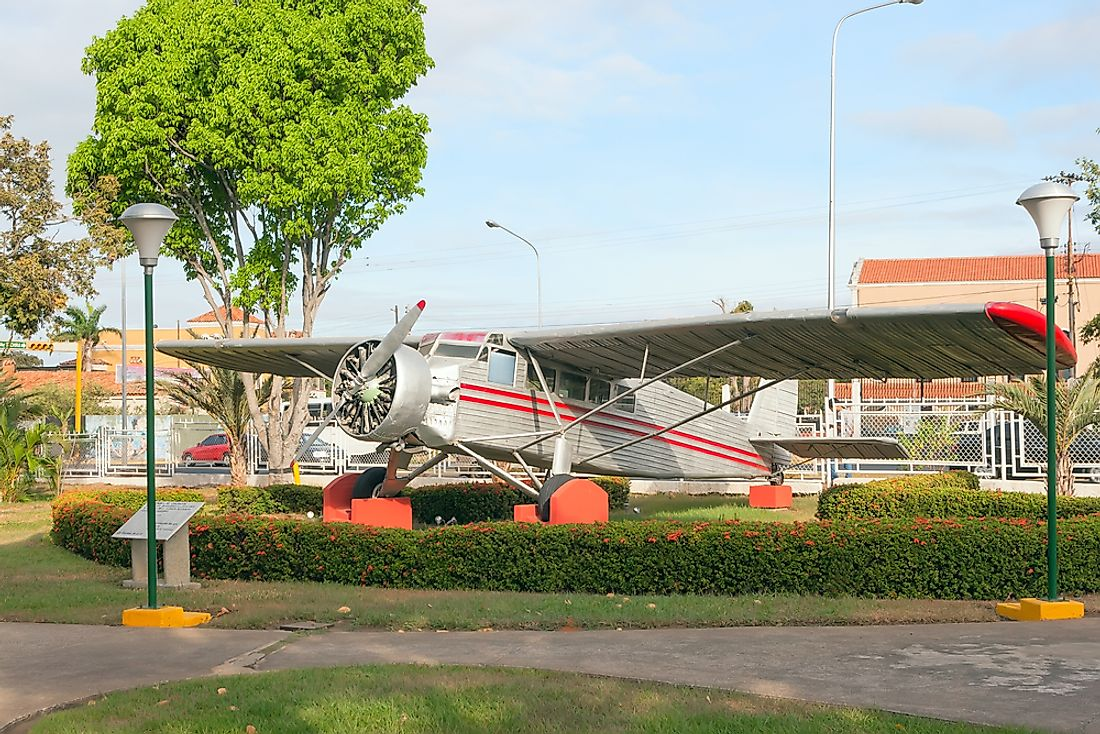 Jimmie Angel's aircraft on exhibit in front of the Ciudad Bolivar Airport in Venezuela. Angel became a hero in both the US and Venezuela.