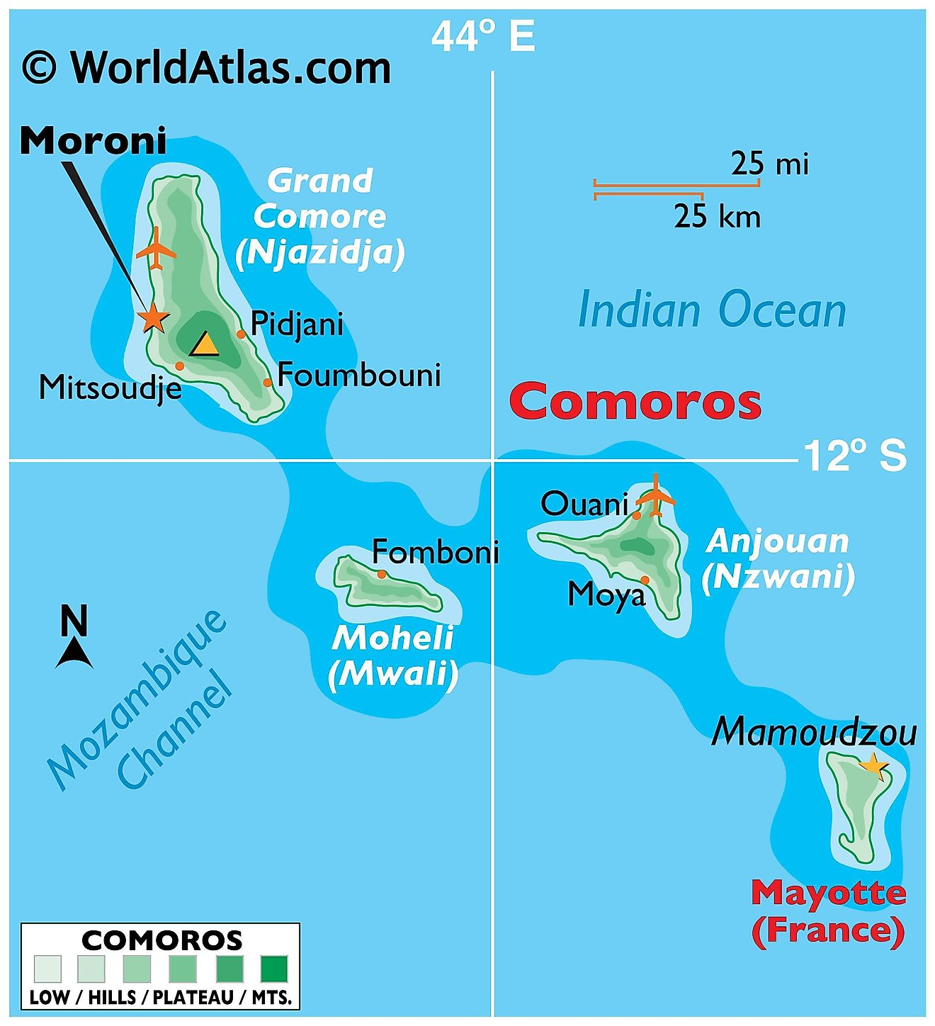 Physical Map of Comoros showing the four main islands, surrounding water bodies, the topography of the islands, important settlements, and the highest point in the country.