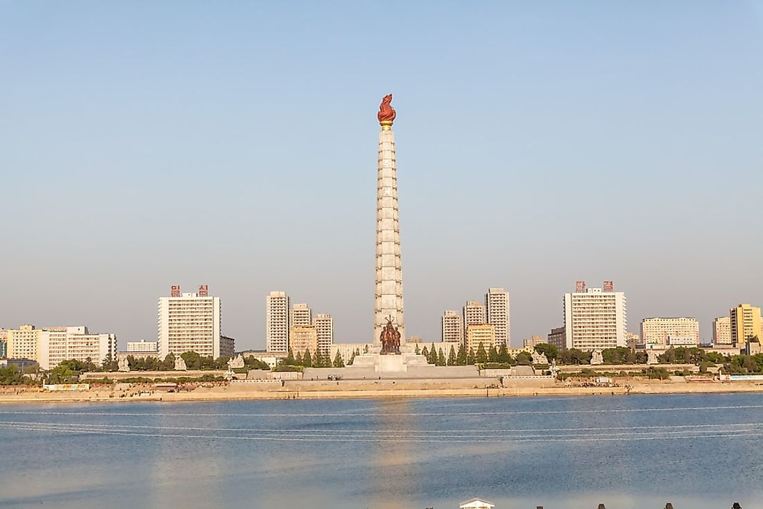The Juche Tower in Pyongyang was constructed to celebrate Kim Il Sung's 70th Birthday in 1982.