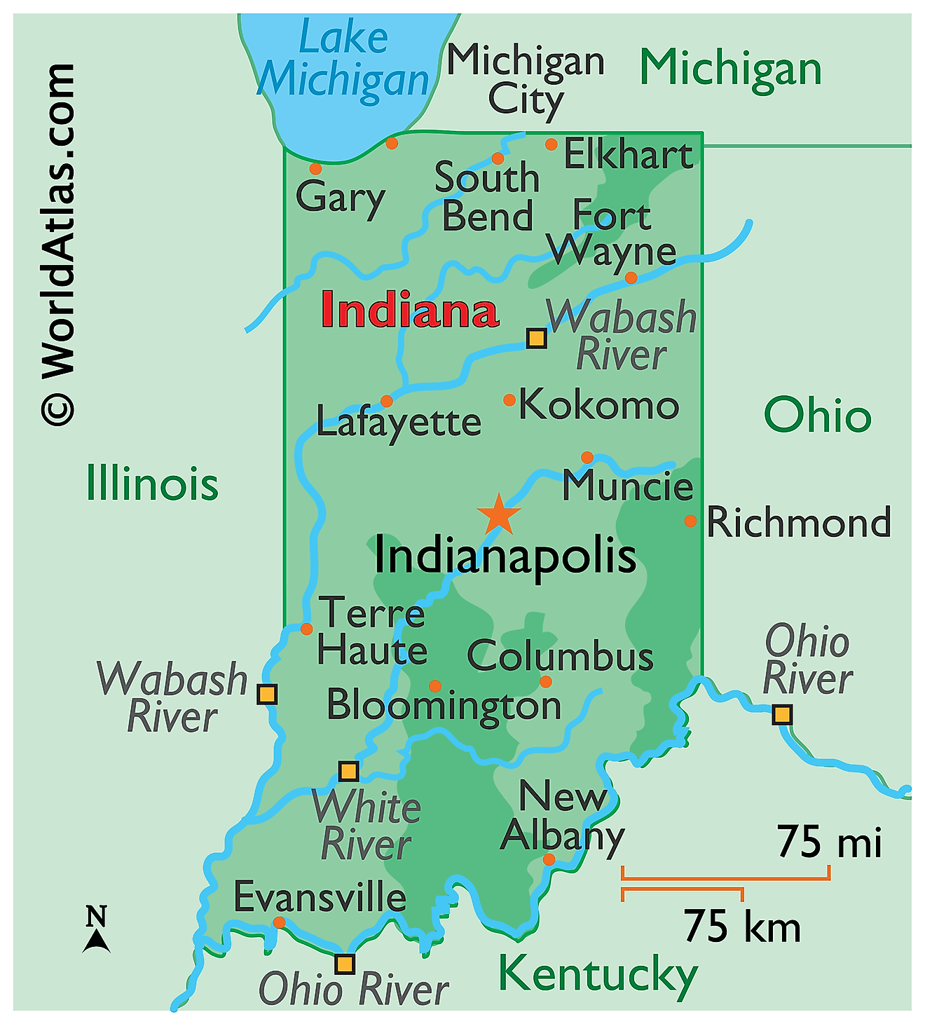 Physical Map of Indiana. It shows the physical features of Indiana including mountain ranges, major rivers and lakes.