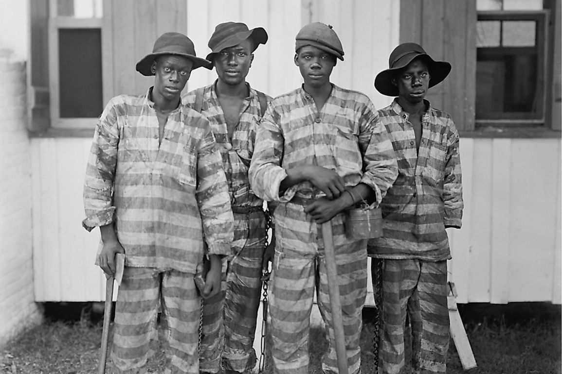 Four young Americans who were forced into labor under the system of convict-leasing.