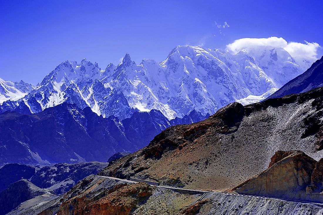 The Karakoram Highway cuts across the mountain range and is regarded as the highest paved road in the world.