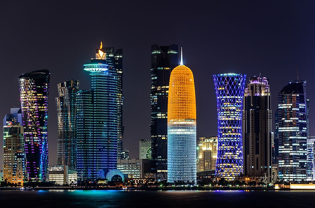 Doha, the capital of Qatar. Qatar is the richest country in Asia by per capita GDP.