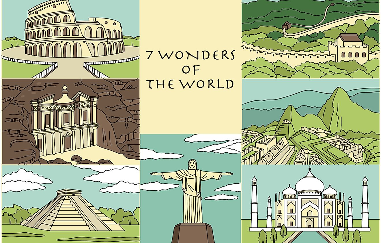 Collage of the 7 Wonders of the World