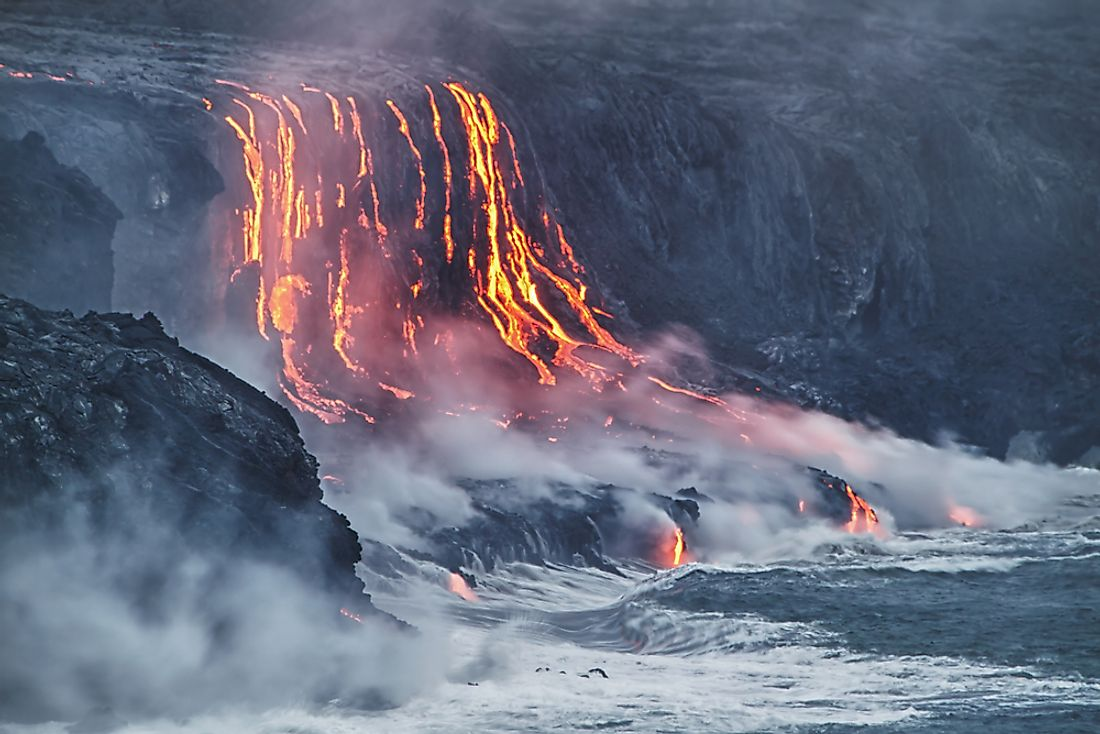 Lava flows into the Pacific Ocean on Hawaii's Big Island.