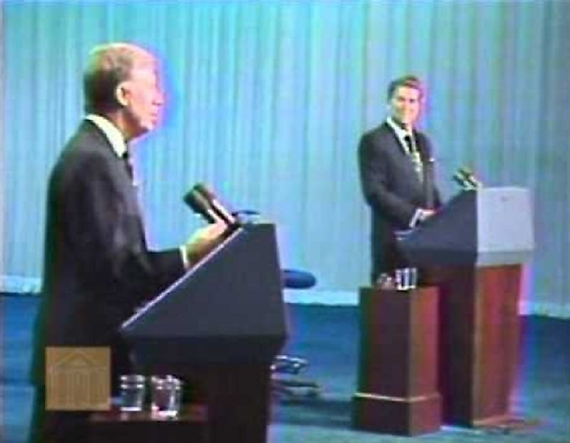 Former Georgia Governor Jimmy Carter takes on California Governor Ronald Reagan in the October 28th, 1980 Presidential Debate.