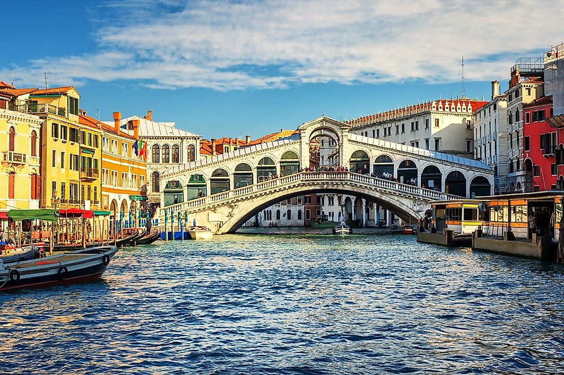 The Rialto Bridge in Venice, Italy.