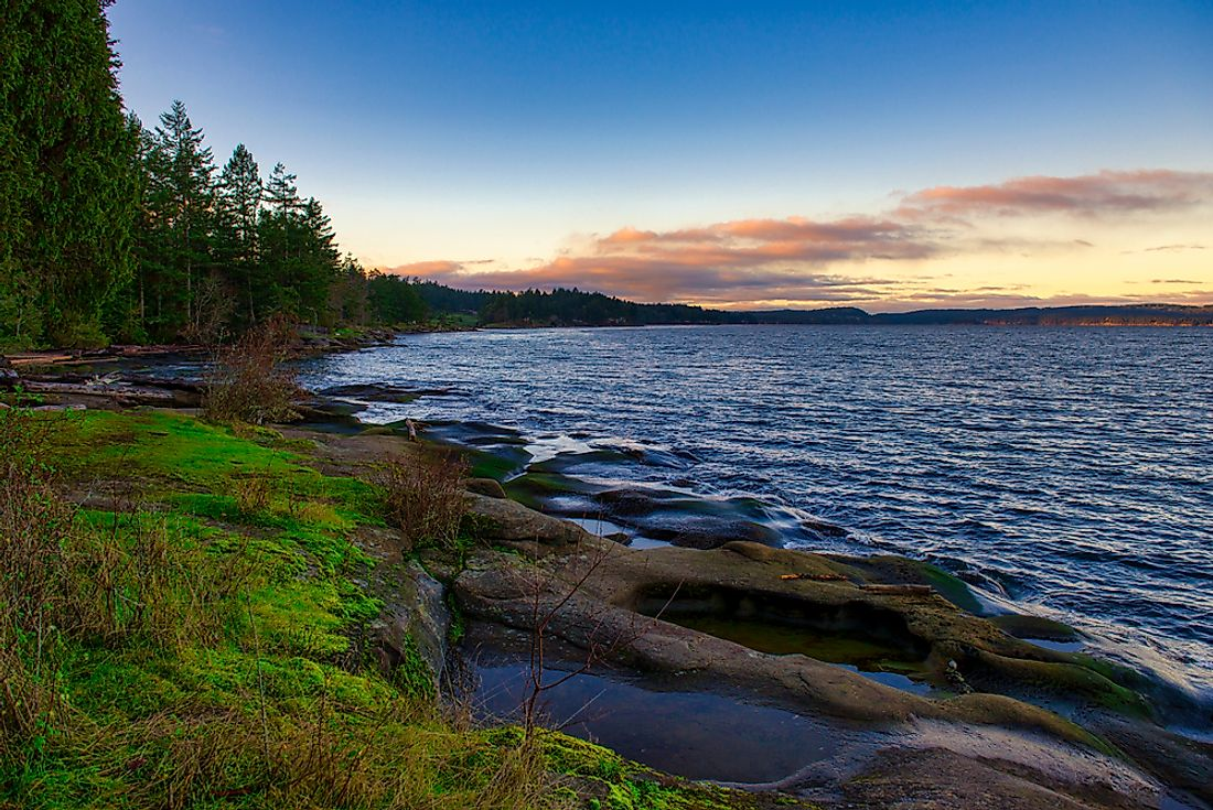 View of the Strait of Georgia from Roberts Memorial Park in Nanaimo, British Columbia.