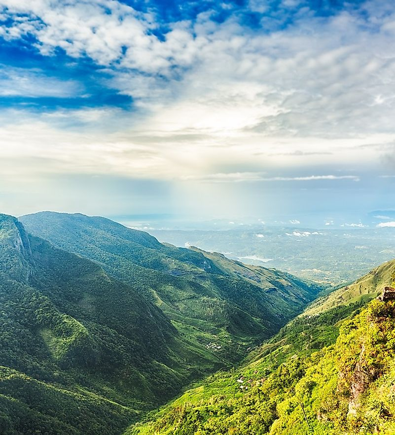 "Montane forests at ""World's End"" in the Horton Plains National Park in Sri Lanka's Central Province."