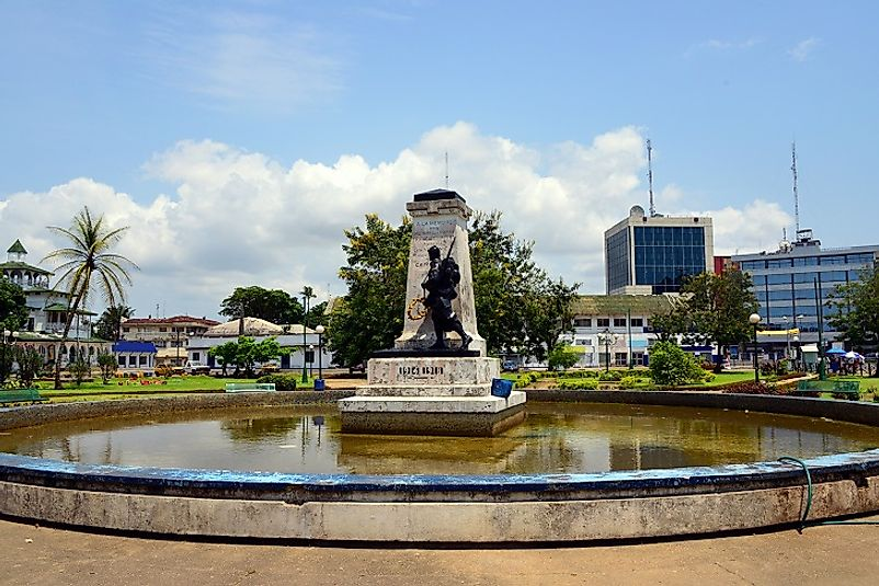 Central square and city center of Douala, Cameroon's most populous city.