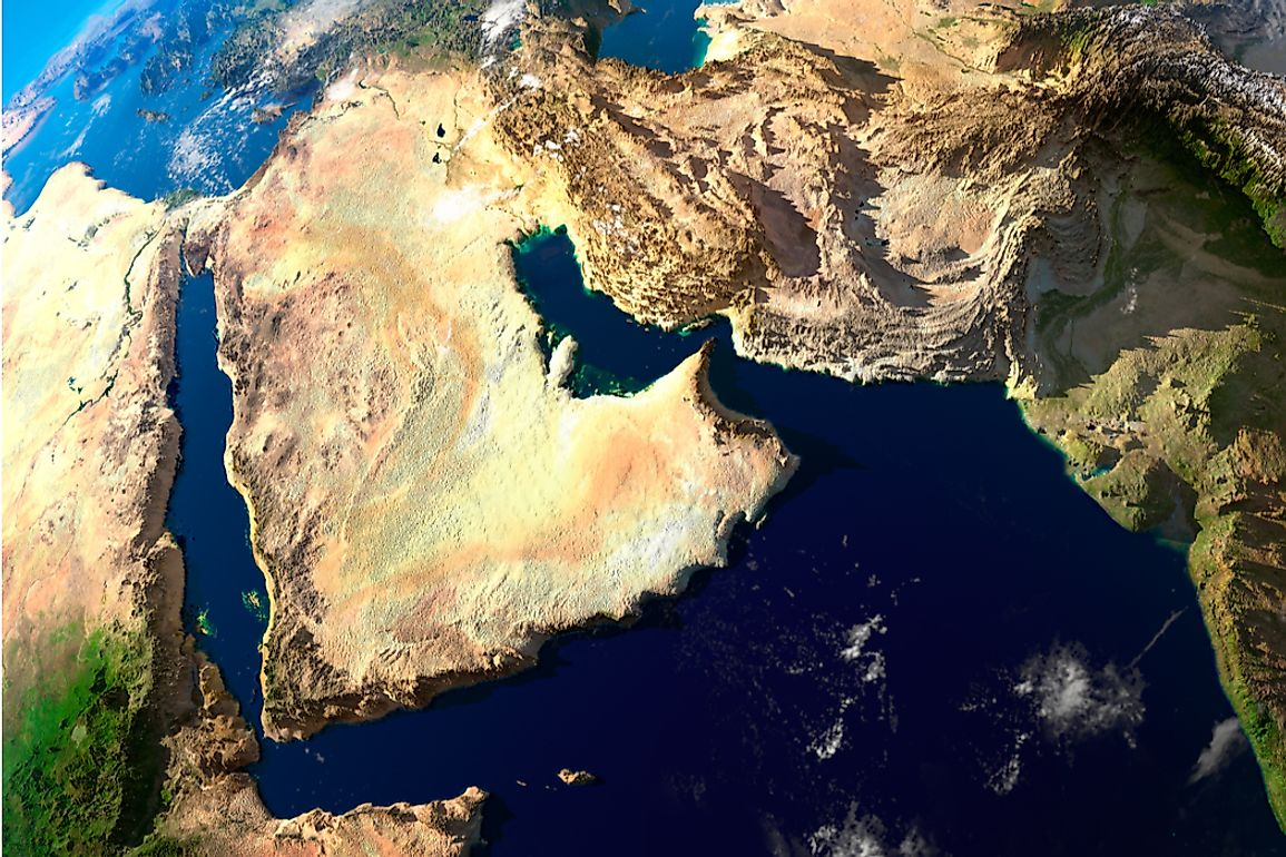 The Arabian Peninsula is the largest peninsula in the world covering 1,250,006 square miles.