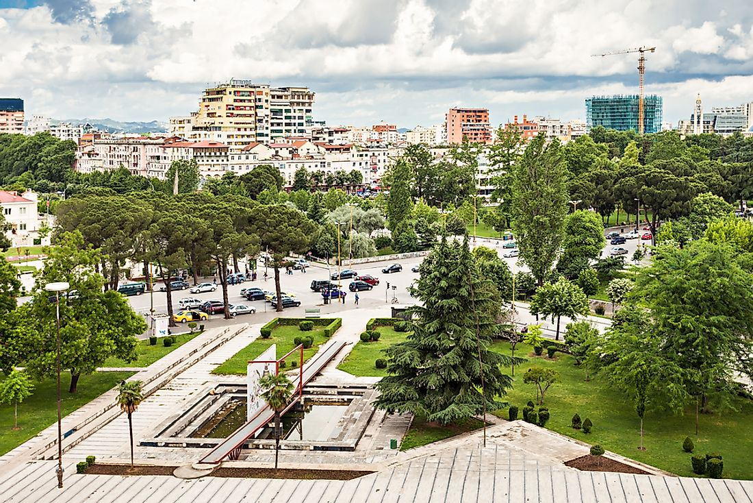 View of Tirana, Albania's capital and economic, cultural, and government center.