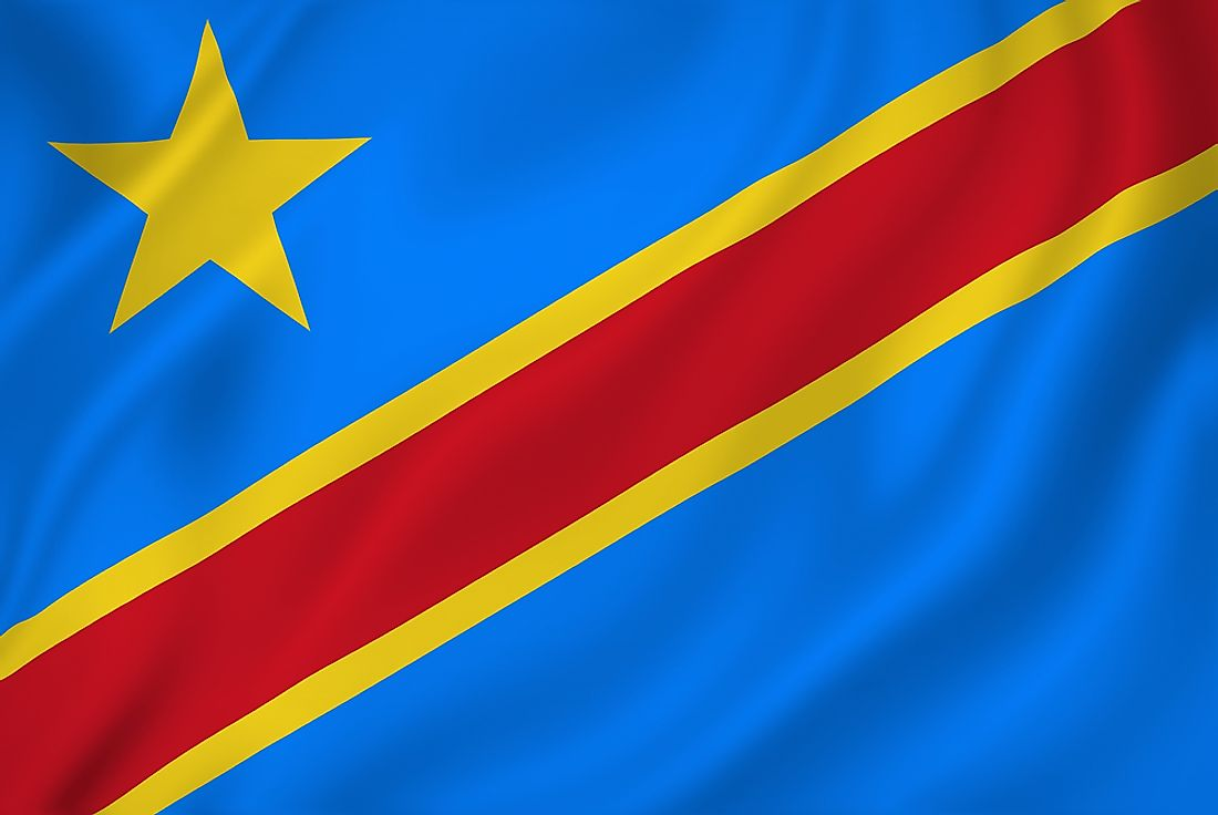 The flag of the Democratic Republic of the Congo.