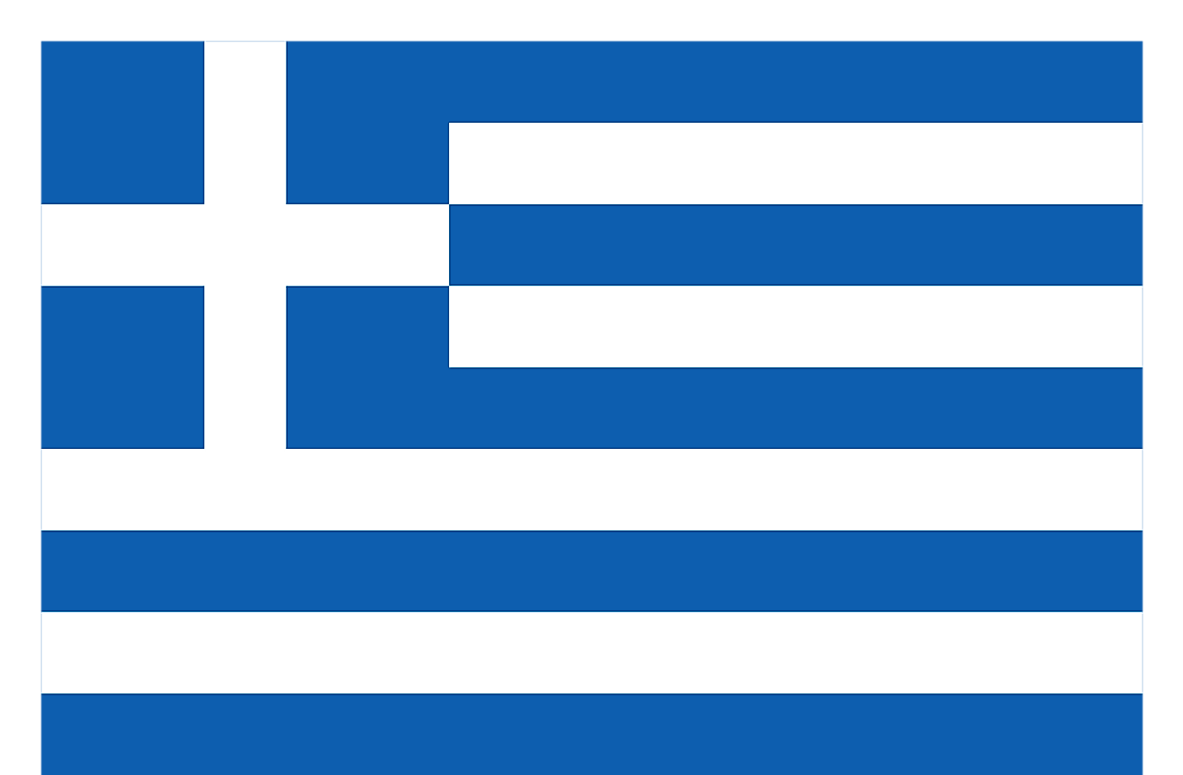 Greece is a country with a blue and white flag.