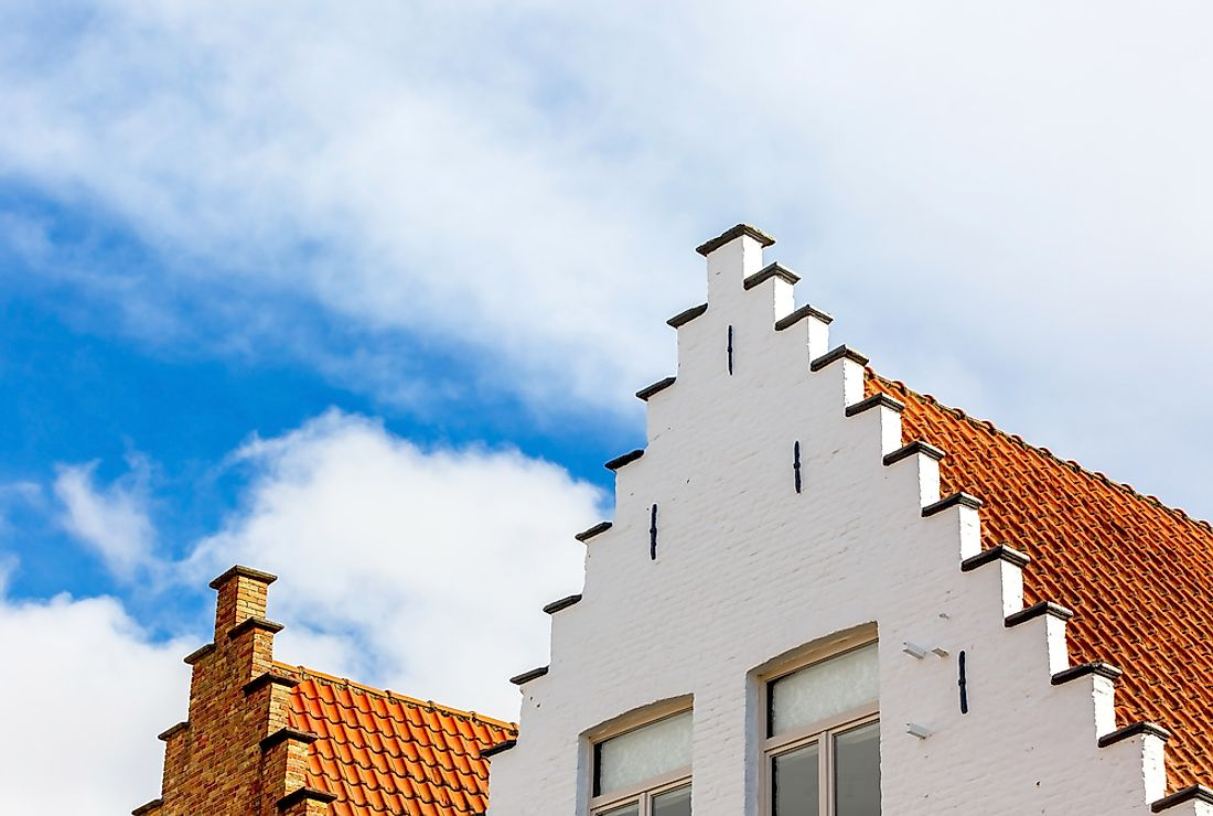 The rooftops of traditional Belgian houses.