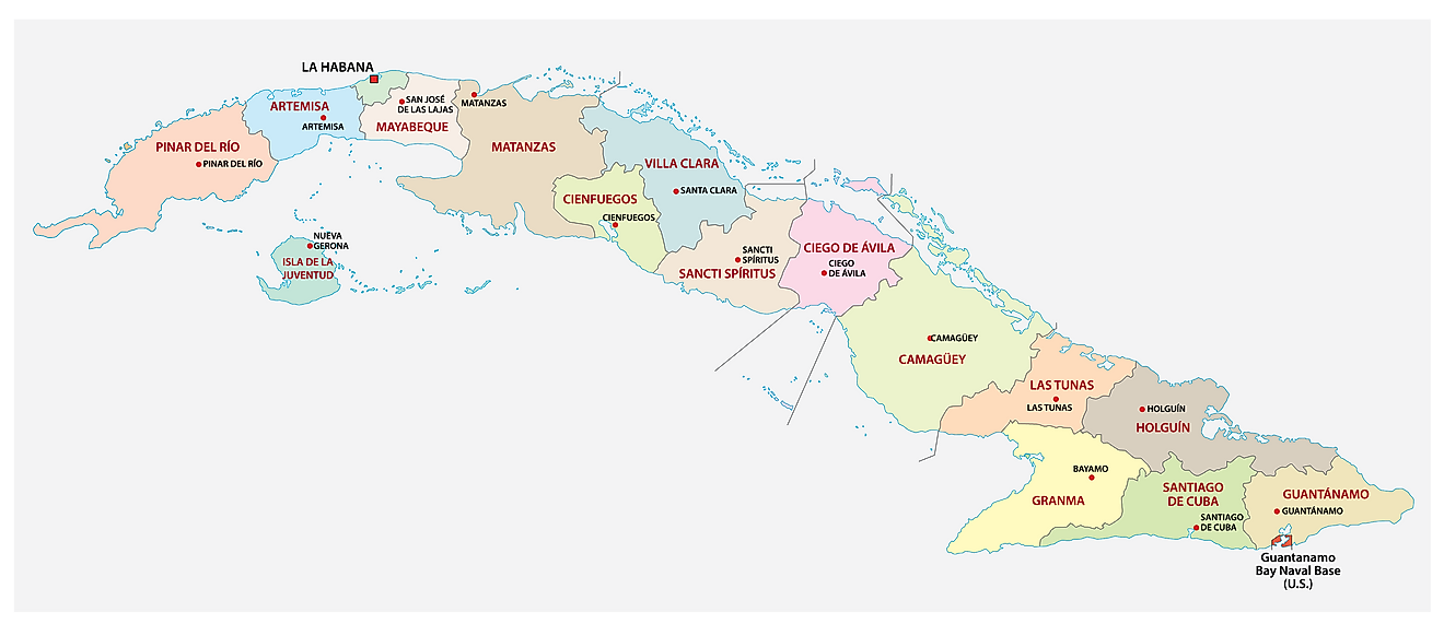 Political Map of Cuba showing its 15 provinces and 1 special municipality and the capital city of Havana.