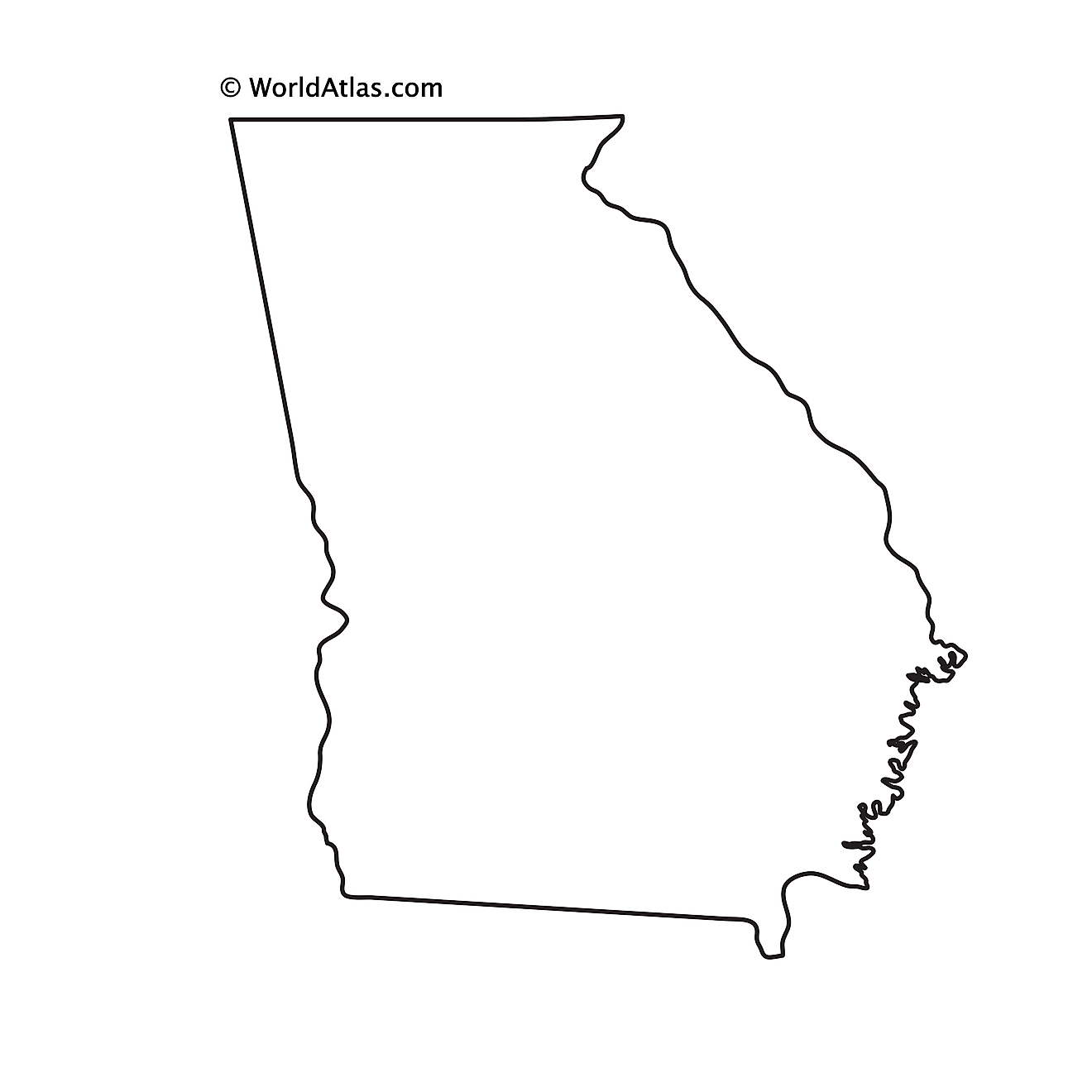 Blank Outline Map of Georgia